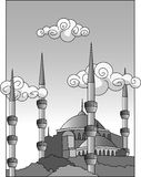 Mosque. A black and white illustration of a mosque Royalty Free Stock Photo