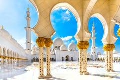 扎耶德Mosque,阿布扎比回教族长 库存照片