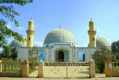 Mosque. Prayful place for muslims? architectural building, old  , with two minarets. East Royalty Free Stock Images