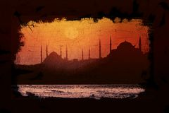 Mosque. An illustration of a historical mosque in Istanbul with red hue Royalty Free Stock Photography