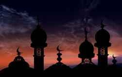 The mosque against the background of a decline and clouds Stock Photos