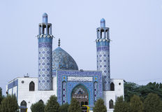Mosque of ahvaz airport. Islamic blue mosque of ahvaz airport with two minarets in a sunny hot day Stock Image
