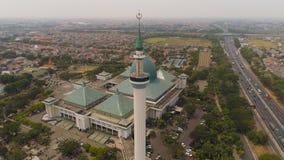 Mosque Al Akbar in Surabaya Indonesia. Aerial view mosque in Indonesia Al Akbar in Surabaya, Indonesia. beautiful mosque with minarets on island Java Indonesia stock image