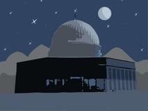 Mosque of Al Aqsa. Illustration, , night, the moon over the mosque of Al Aqsa Stock Photography