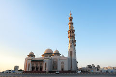 Mosque. Al Huda Mosque during sunset, Sharjah city, United Arab Emirates (UAE Stock Photo