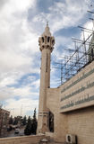 Mosque in Amman. King Abdullah I , on a cloudy day. It´s a vertical picture. It´s a editoral picture with road and car in one side stock photos