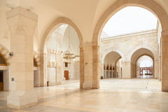 Mosque arcade in Amman, Jordan. King Hussein Bin Talal mosque arcade in Amman,  Jordan Royalty Free Stock Photo