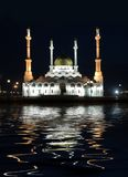 Mosque ashore bay at night royalty free stock photography