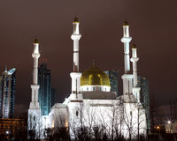 Mosque in Astana. On a winter night Stock Images