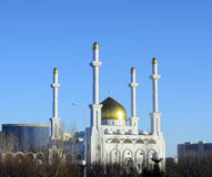 Mosque in Astana on blue sky background. Royalty Free Stock Photos
