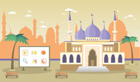 Mosque on the background of the city. Icons with Islamic symbols. Vector illustration royalty free illustration