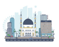 Mosque on the background of the city Stock Image