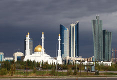 Mosque on a background of the cityscape Royalty Free Stock Images