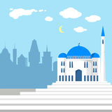 Mosque on the background of islamic city Stock Photos