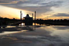 The mosque. Beautiful light and shadow on sunset at songkhla mosque thailand Stock Photos