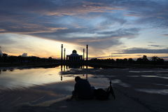 The mosque. Beautiful light and shadow on sunset at songkhla mosque thailand Stock Images