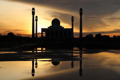 The mosque. Beautiful light and shadow on sunset at songkhla mosque thailand Royalty Free Stock Images