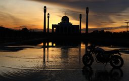 The mosque. Beautiful light and shadow on sunset at songkhla mosque thailand Stock Photo