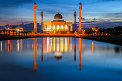 Mosque. Beautiful sunset at  central mosque Hatyai Songkhla Thailand Stock Photos