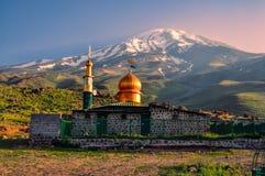 Mosque below Damavand stock image