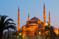 Mosquée bleue la nuit Photographie stock libre de droits