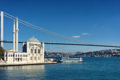 Mosque and the bridge on the Bosphorus Strait Royalty Free Stock Photos