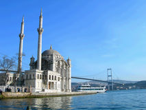 Mosque and brigde in Istanbul Royalty Free Stock Image