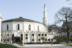 The Mosque in Brussels. A view of the mosque and the minaret royalty free stock images