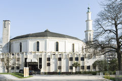 The Mosque in Brussels. A view of the mosque and the minaret royalty free stock photography