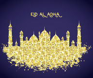 Mosque building with golden glitter foil texture . Greeting card for traditional muslim festival eid al adha. Stock Photos