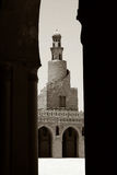 Mosque in cairo. Mosque ahmed ibn touloun in cairo - B&W Stock Image