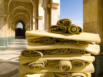 Mosque in Casablanca. A lot of yellow mat before mosque in Casablanca Royalty Free Stock Images