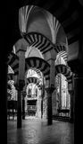 Mosque / Cathedral of Córdoba - arches, black and white Royalty Free Stock Photography