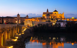 Mosque-cathedral of Cordoba and Roman bridge Royalty Free Stock Photo