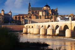 Mosque-cathedral of Cordoba and Roman bridge Royalty Free Stock Image
