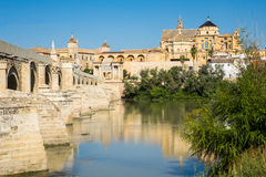 Mosque-Cathedral of Cordoba in Spain. Bridge leading to Mosque and Cathedral of our Lady of the Assumption in Cordoba, Andalucia, Spain Royalty Free Stock Photography