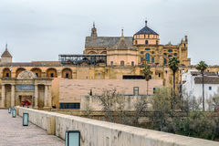 Mosque Cathedral of Cordoba, Spain. View of Mosque Cathedral of Cordoba from Roman Bridge, Spain Stock Images