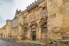 Mosque Cathedral of Cordoba, Spain. Wall of Mosque Cathedral of Cordoba also known as the Great Mosque of Cordoba with gate, Spain Stock Photography