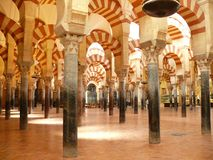 Mosque-Cathedral hall with columns in Cordoba, Spain stock photo