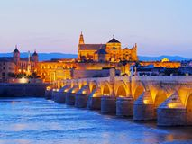 Mosque-Cathedral and the Roman Bridge in Cordoba Royalty Free Stock Photography