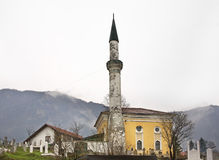 Mosque on cemetery in Travnik. Bosnia and Herzegovina.  Royalty Free Stock Photography