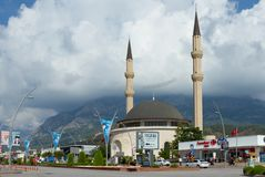 Mosque in the center of the resort city in Kemer, Turkey royalty free stock photo