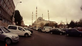 Mosque in centre Ankara cars around cloudy day timelapse. Ankara capital of Turkey Cityscape early spring stock video footage