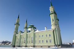 Mosque in the city of Sterlitamak against the blue sky. A mosque in the city of Sterlitamak against the blue sky Royalty Free Stock Photos
