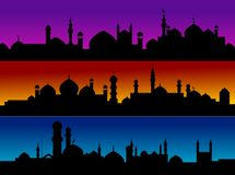 Mosque cityscapes. On evening sky for design Royalty Free Stock Photo