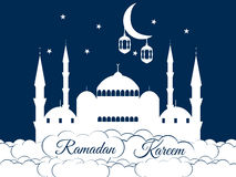 Mosque in the clouds. Ramadan Kareem, blue mosque, minaret, lantern and moon, muslim holiday lights. Vector illustration Stock Photography