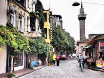 Mosque in colourful Balat, Istanbul Stock Image