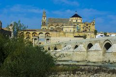 Mosque of Cordoba and Roman bridge royalty free stock photos