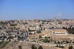 Mosquée d'Al-Aqsa, vieux murs de ville, Jérusalem Image libre de droits