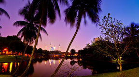 Mosque at Dawn. The Shah Alam mosque also known as The Sultan Salahuddin Abdul Aziz Shah located in Shah Alam, Selangor Royalty Free Stock Images